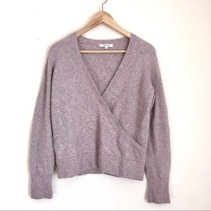 Madewell faux wrap sweater cropped pale heather